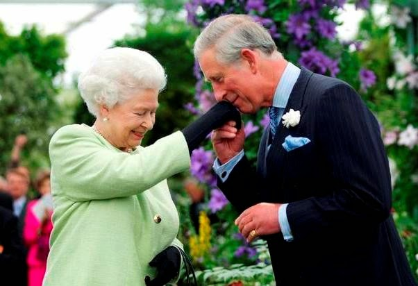 17the kiss-H.M. Queen Elizabeth II of Great Britain and H.R.H. Prince Charles of Wales